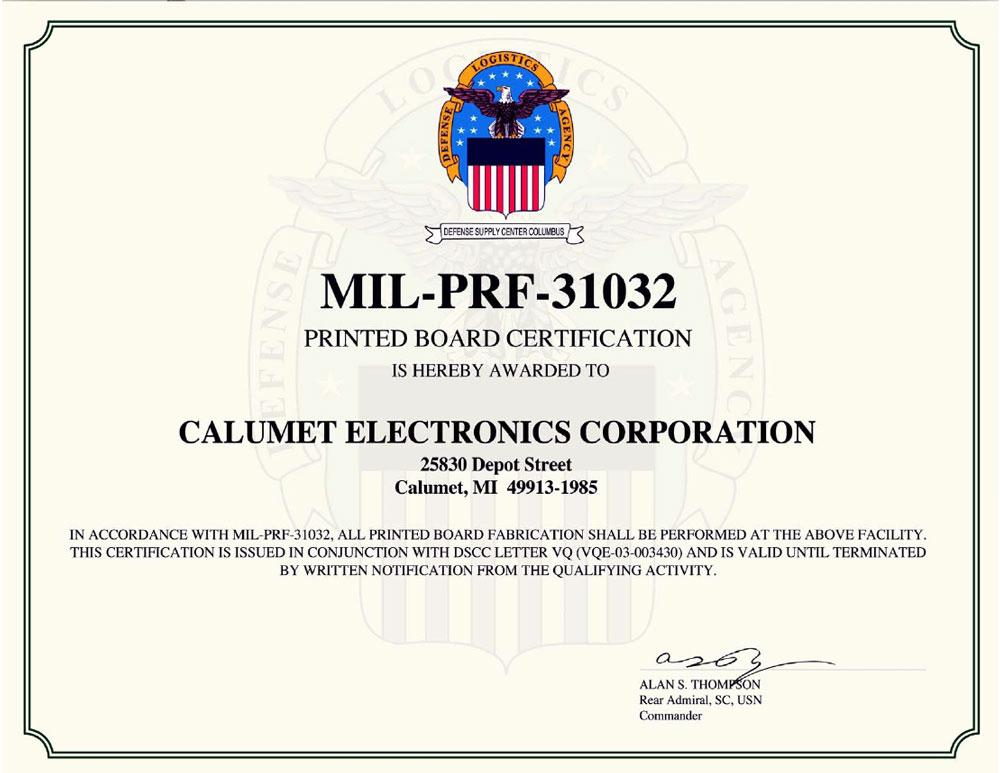 Calumet Electronics MIL-PRF-31032 certification