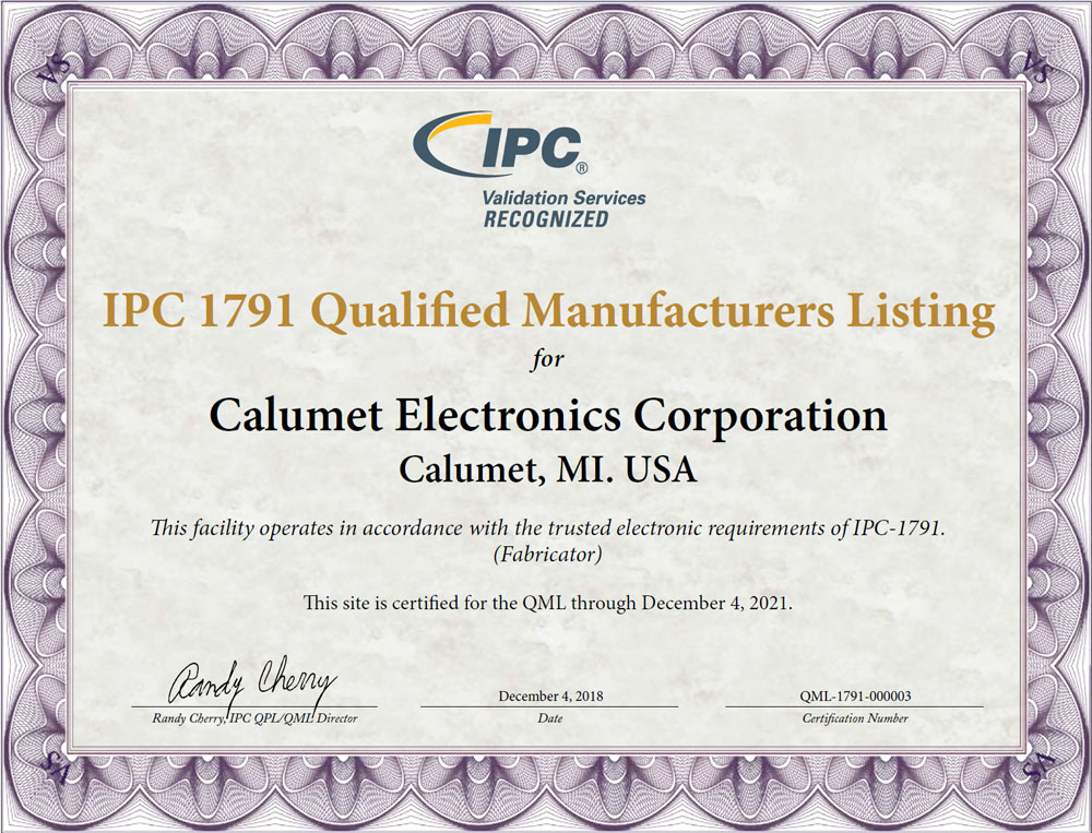 Calumet Electronics' IPC 1791 certification