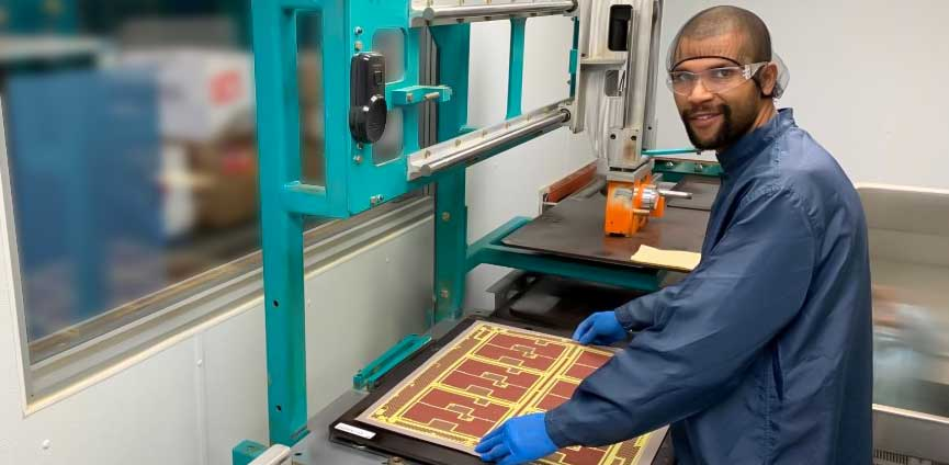 Calumet Electronics press layup operator