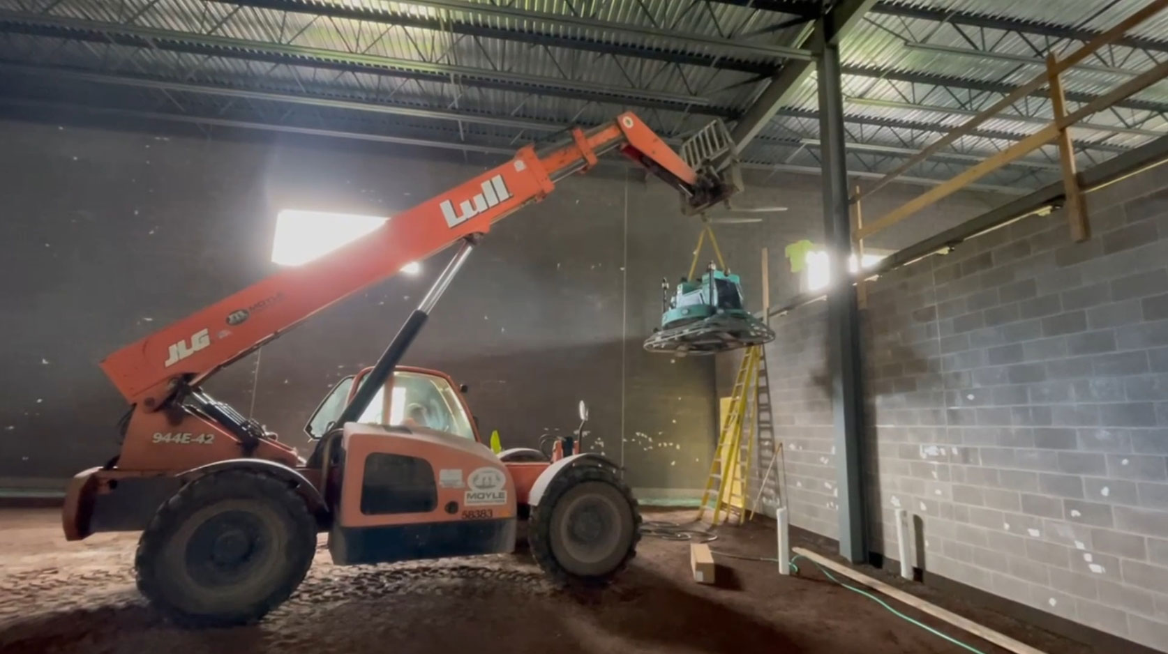 concrete floor construction of new Calumet Electronics building